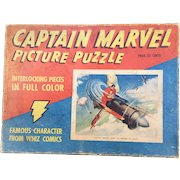 """Captain Marvel 1941 """"Rides the Engine of Doom"""" Boxed Puzzle Complete!"""