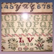 Dated 1879 Antique American Sampler