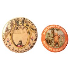 RARE 1904 & 1906 BAER (Teddy Bear) Family Reunion Pinback Buttons