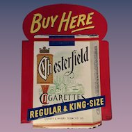 Chesterfield Cigarettes Pressed Steel Enamel Flange Sign 1950's