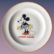 Minnie Mouse 1932 Child's Ceramic plate Patriot China