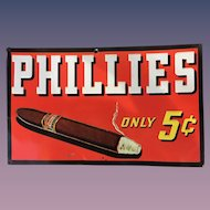 Phillies Cigar 1930's Colorful Tin Embossed Advertising Sign