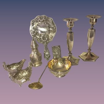 Beautiful Victorian & Antique Sterling Silver Lot of 9 PIECES~Candlesticks, Sugar Shaker and More