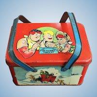 Joe Palooka 1948 tin lithographed Lunch Box Kit