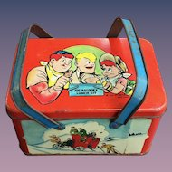 Joe Palooka 1948 tin lithographed Lunch Box Kit