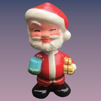 Santa Claus  1950's Composition Nodder, Bobble Head With Christmas Presents