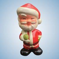 Santa Claus  1950's Composition Nodder, Bobble Head With Present Bag
