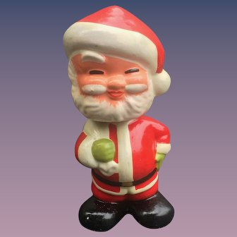 Santa Claus  1950's Composition Nodder, Bobble Head With Present Bag
