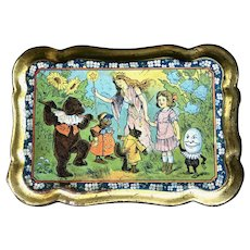 Antqiue Tin Tip Tray Animals, Teddy Bea & Humpty Dumpty w/Fairy
