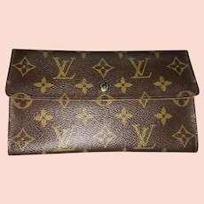 Vintage Louis Vuitton Wallet Purse Long Wallet Monogram Brown Woman Authentic