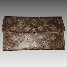 Vintage Louis Vuitton Wallet Purse Long Wallet Monogram Brown Woman Authentic