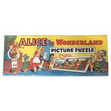 Alice in Wonderland Picture 4 Puzzle Set Colorful!  1940's/1950's Parker Brothers