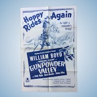 "Hopalong Cassidy in ""Gunpowder Valley"" Original 1955 One Sheet Movie Poster"