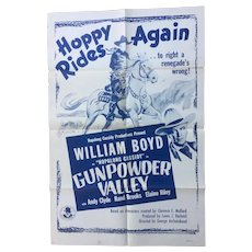 "Hopalong Cassidy in ""Gunpowder Valley"" Original 1955 One Sheet Movie Poster"