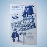 """Hopalong Cassidy """"Six Shooter Justice"""" 1950 One Sheet Movie Poster"""