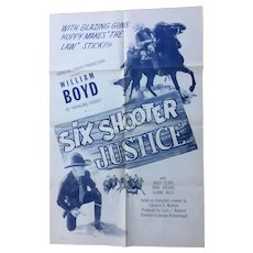 "Hopalong Cassidy ""Six Shooter Justice"" 1950 One Sheet Movie Poster"