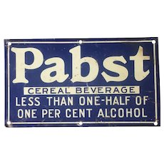 Pabst Beer Cereal Beverage Prohibition Era Tin Sign