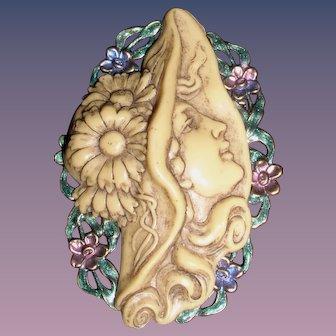 Stunning Art Nouveau Celluloid Figural Pin