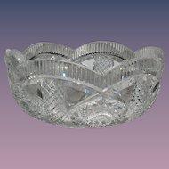 American Brilliant Period Cut Glass LRG Bowl SGN Hawkes