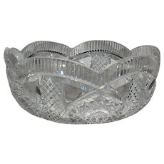 American Brilliant Period Cut Glass LRG Bowl SGN Hawkes - Red Tag Sale Item