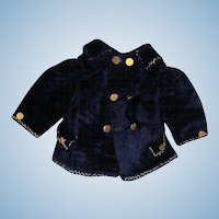 Antique Gorgeous Sailor Navy silk Velvet  Bebe Jacket