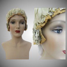 1920s Boudoir SLEEP CAP | 20s Mint Green Sleep Cap | 1920s | Antique 20s Sleep Cap | Boudoir | Silk Crochet Sleep Cap | Flapper