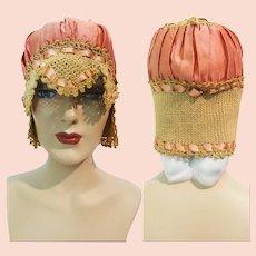 1920s BOUDOIR SLEEP CAP | 20s Sleep Cap | 1920s | Antique 20s Sleep Cap | Boudoir Night Cap | Silk Crochet Sleep Cap | Flapper