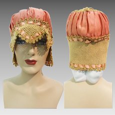 1920s BOUDOIR SLEEP CAP | 20s Sleep Cap | 1920s | Antique 20s Sleep Cap | Boudoir Night Cap | Silk Crochet Sleep Cap | Flapper
