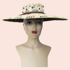 Vintage 1940s Hat | 40s Brown Hat | Wide Brim Hat | Old Hollywood Hat | Glamourous | Ornamentation | 40s Hat |