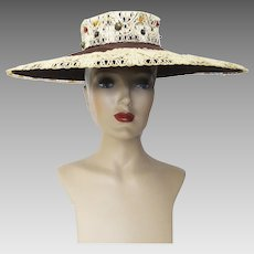 Vintage 1940s Hat | 40s Brown Hat | Wide Brim Hat | Old Hollywood Hat | Glamourous | Ornamentation | 40s Hat |