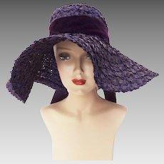 Vintage 1940s Hat | 40 Purple Hat | Floppy Purple Hat | Talbert | Silk Flowers | Large Brim Hat | 1940s | 40s Hat |