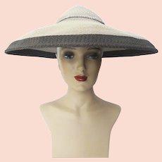 d8e4583a39f03 Vintage 1940s Two Tone Gray Lee Lyon Original Large Brim Hat