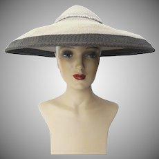 Vintage 1940s Two Tone Gray Lee Lyon Original Large Brim Hat