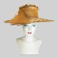Vintage 1950s Rust Colored Large Brim Hat