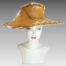 Vintage 1950s Rust Colored Large Brim Hat