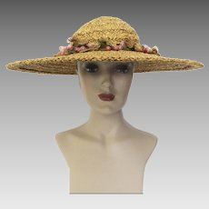 Vintage 1940s Danelle Exclusive Large Brim Hat