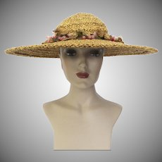 Vintage 1940s Danelle Exclusive Large Brim Hat