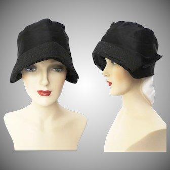 Vintage 1920s Hat | Lady Supreme | 20s Flapper Hat | Black Hat | 1920s Gatsby Hat | 1920s Designer Hat | Black cloche hat |