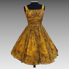 Vintage 1950s GIGI YOUNG New York Floral Chiffon Dress
