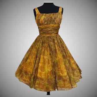 Vintage 1950s GIGI YOUNG New York Floral Chiffon Dress