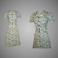 Vintage 1940s Dress  .  Novelty Print  . 40s Dress .  Floral  .  Art Deco
