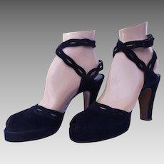 Vintage 1940s Platforms | Ankle Strap Platforms  | Navy Blue | Angle Straps | Open Toe | 1940s I. Miller Platforms |
