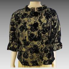 Vintage Floral Flocked Jacket | Black Flocked Flowers | eci New York | Evening Jacket |
