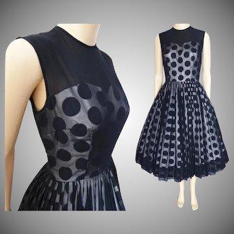 Vintage 1950s Dress//Black Chiffon//Polka Dot//Illusion Dress//Party Dress