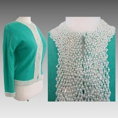 Vintage 1950s Beaded Sweater | Teal | Hand Beaded | Faux Pearls | Mode Elegante A. Wang | Hong Kong |