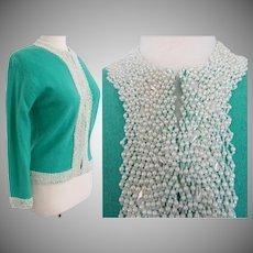 Vintage 1950s Beaded Sweater | Teal | Hand Beaded | Faux Pearls | Mode Elegante A. Wang | Hong Kong |