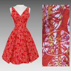 Vintage 1950s Dress//Vibrant Novelty Print//Susan Kay//Red//Full Dress//