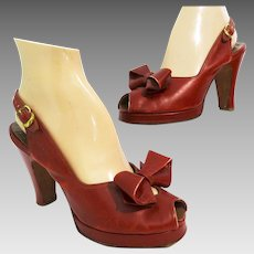 Vintage 1940s Platforms | Red | Bow Ornamentation | Foot Flair | Slingback Heels | Open Toe |