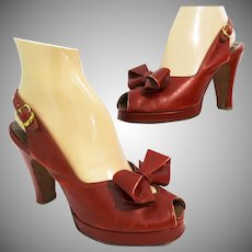 Vintage 1940s Platforms | Red | Bow Ornamentation | Foot Flair | Slingback Heels | Open Toe |