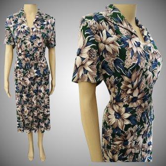 Vintage 1940s Dress//Rayon//Tropical Floral//Lady Ashton//Vibrant Colors//
